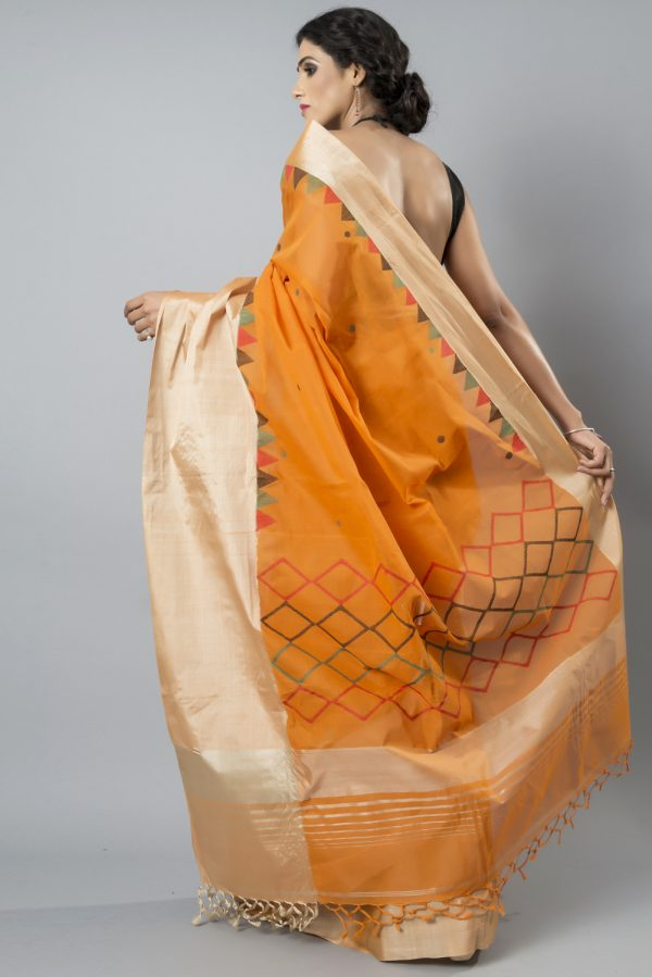 Handloom cotton with tussar border
