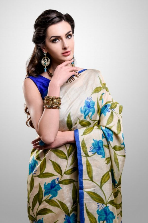 Hand-painted Silk Sari