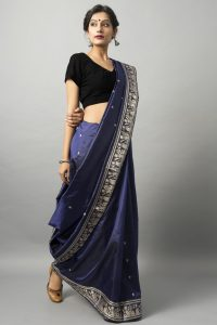 baluchari saree with zari & meenakari