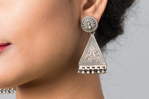 Silver Earring Peacock Motif