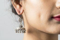 Silver earrings Jhumkas