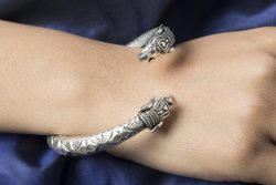 silver bangle with elephant motif