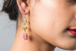 Silver earrings with multi gemstones
