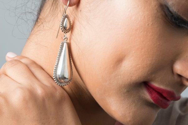 Silver earrings drop style