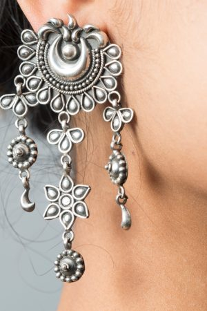 Silver Earrings with moon and star motif