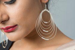 Silver earrings multi-rings