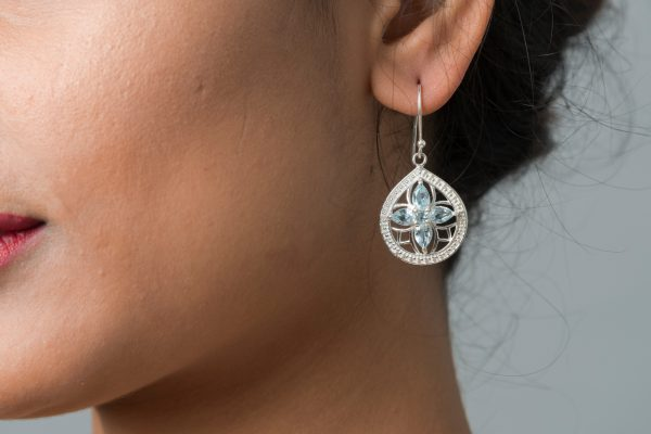 Silver Earring with gemstone