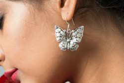 Silver Earring with butterfly motif