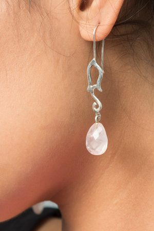 Silver Earrings white Gemstone
