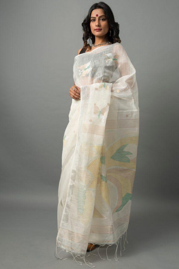 linen silk jamdani