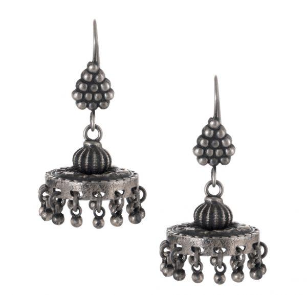 Silver earrings jhumka style