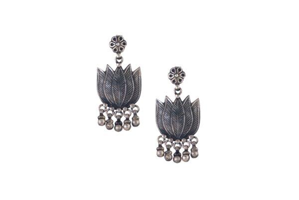 Silver Earrings Lotus Motif