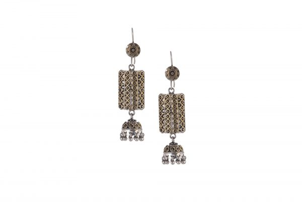 Silver earrings in gold and silver tone