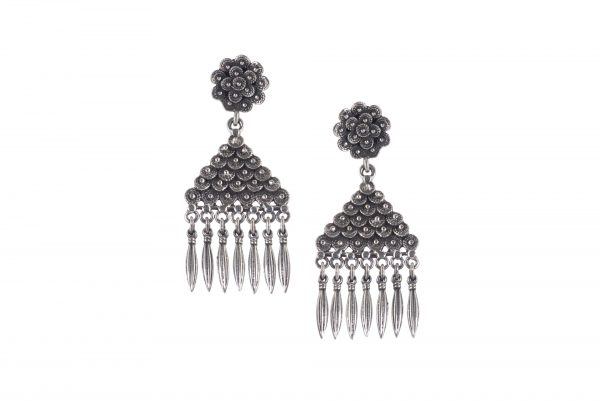 Silver Earrings floral motif