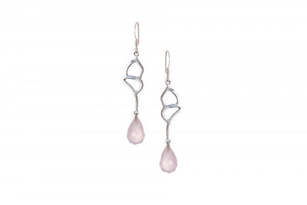 Silver Earrings Pink Gemstone