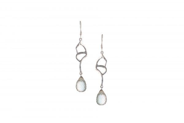 Silver Earrings white Gemstone
