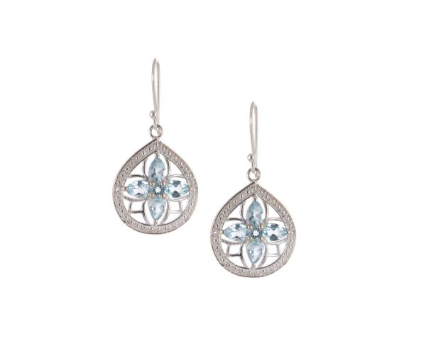 Silver Earrings with Jemstone