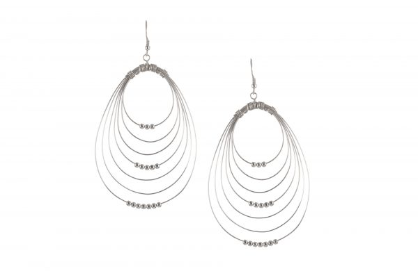 Silver earrings multi-rings