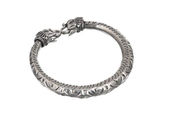 silver bangle elephant motif