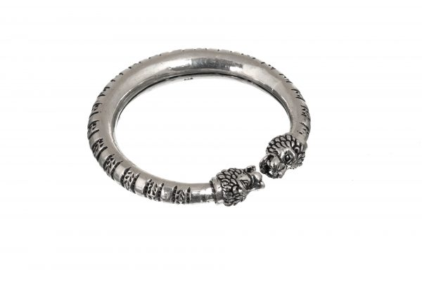Silver Bangle Kadha Lion Motif