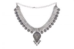 Silver necklace with ganesha motif