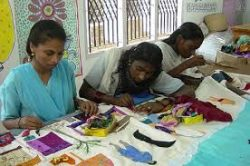 Women making handicraft products