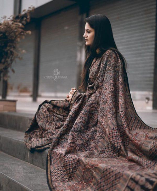 Ajrakh chanderi silk