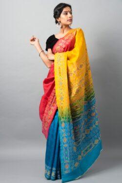 Kantha saree in multi-color hues