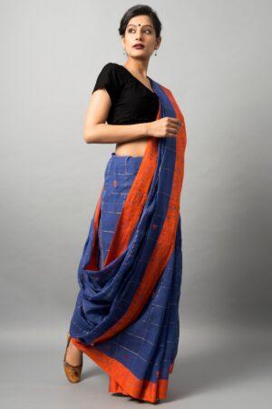 Khadi cotton saree with fish and swan motif
