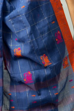 Khadi cotton saree with fish and swan motif
