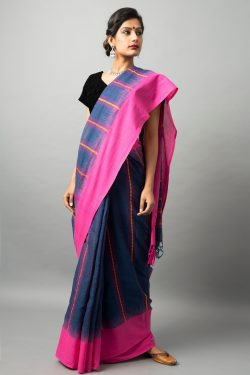 Khadi cotton saree with fish motifs