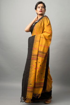 Khadi cotton saree with fish motifs