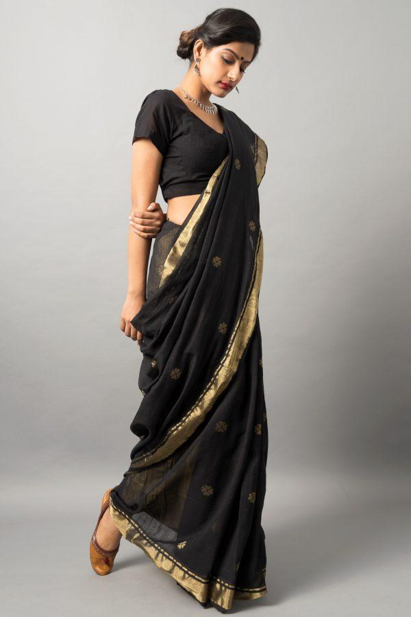 Khadi cotton saree with zari work