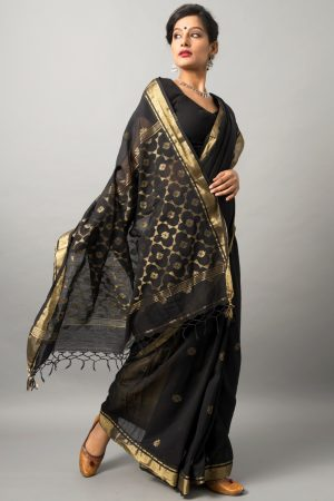 Khadi cotton saree with zari work