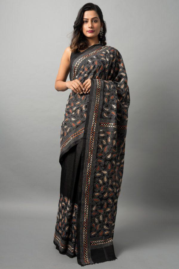 Kantha saree on bishnupur silk
