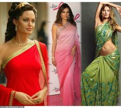Hollywood stars in saree