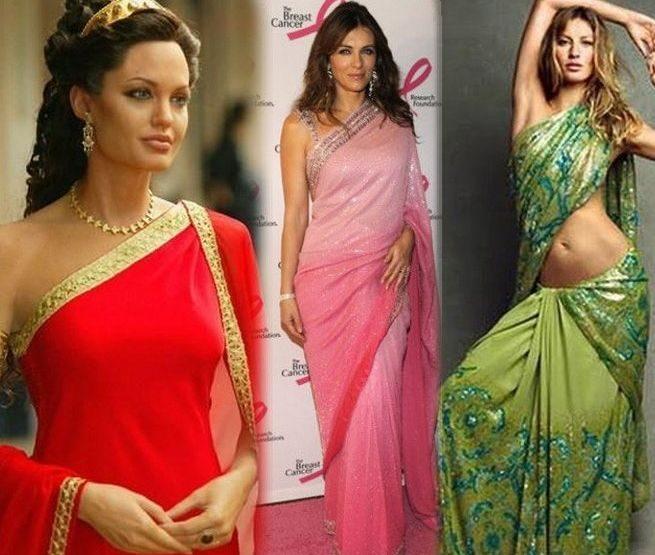 Hollywood stars in saree