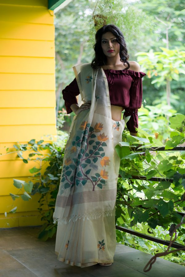 Resham silk Jamdani Kota Checks