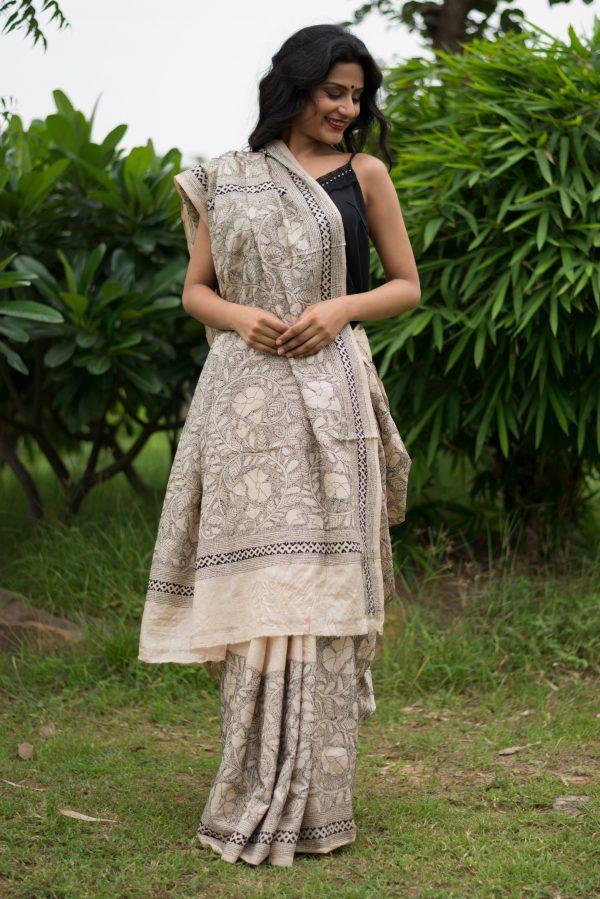 Reverse Kantha Saree