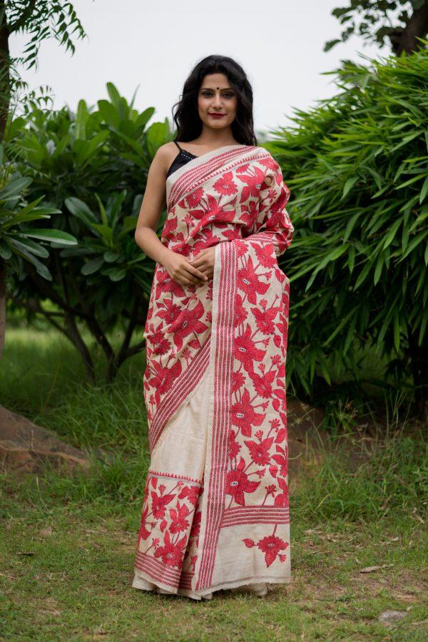 Kantha saree with nakshi stitch