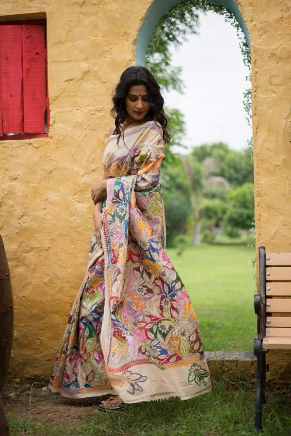 Kantha saree reverse stitch
