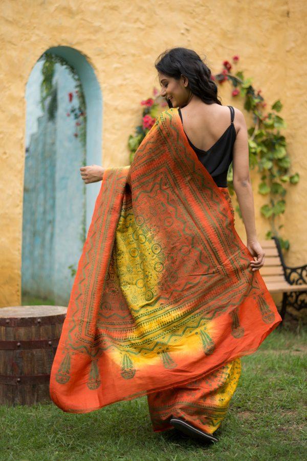 Kantha saree warli motifs