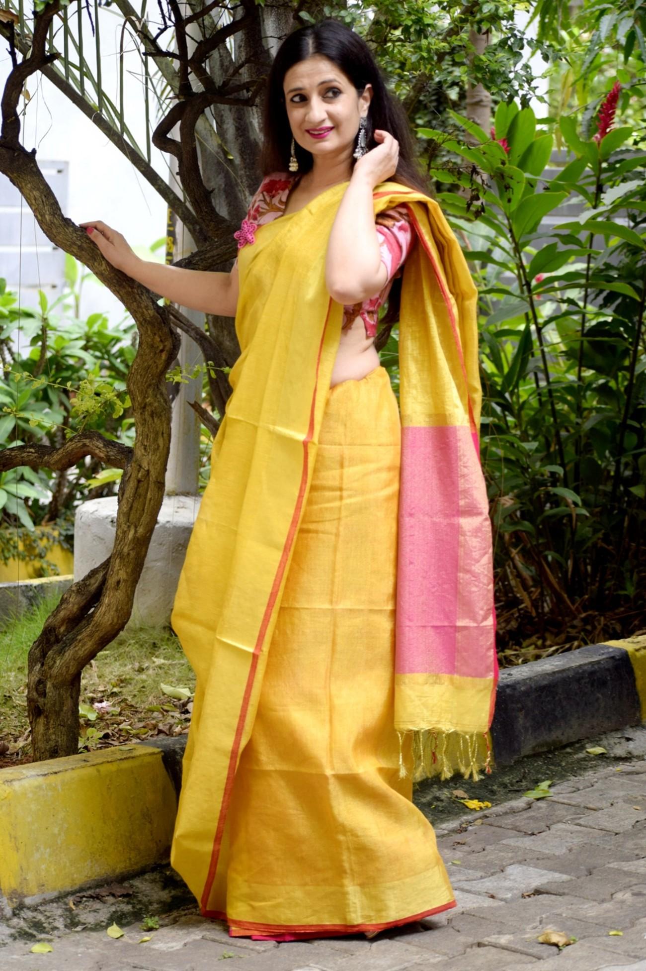 Tissue Linen Saree