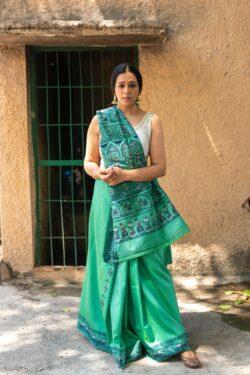 Baluchari silk emerald green
