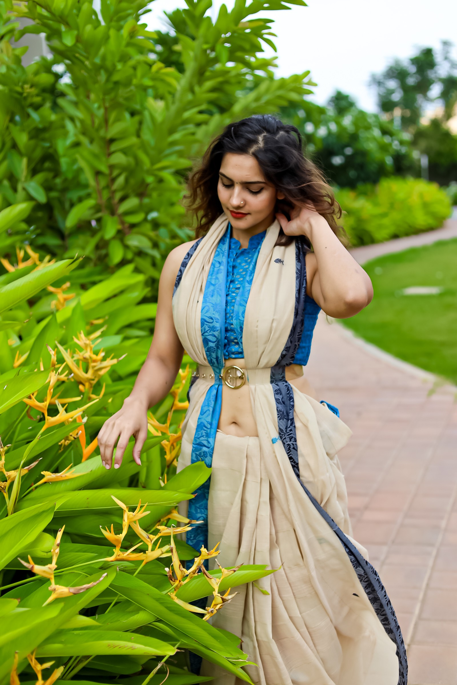 Khadi Cotton saree with flamingo motifs
