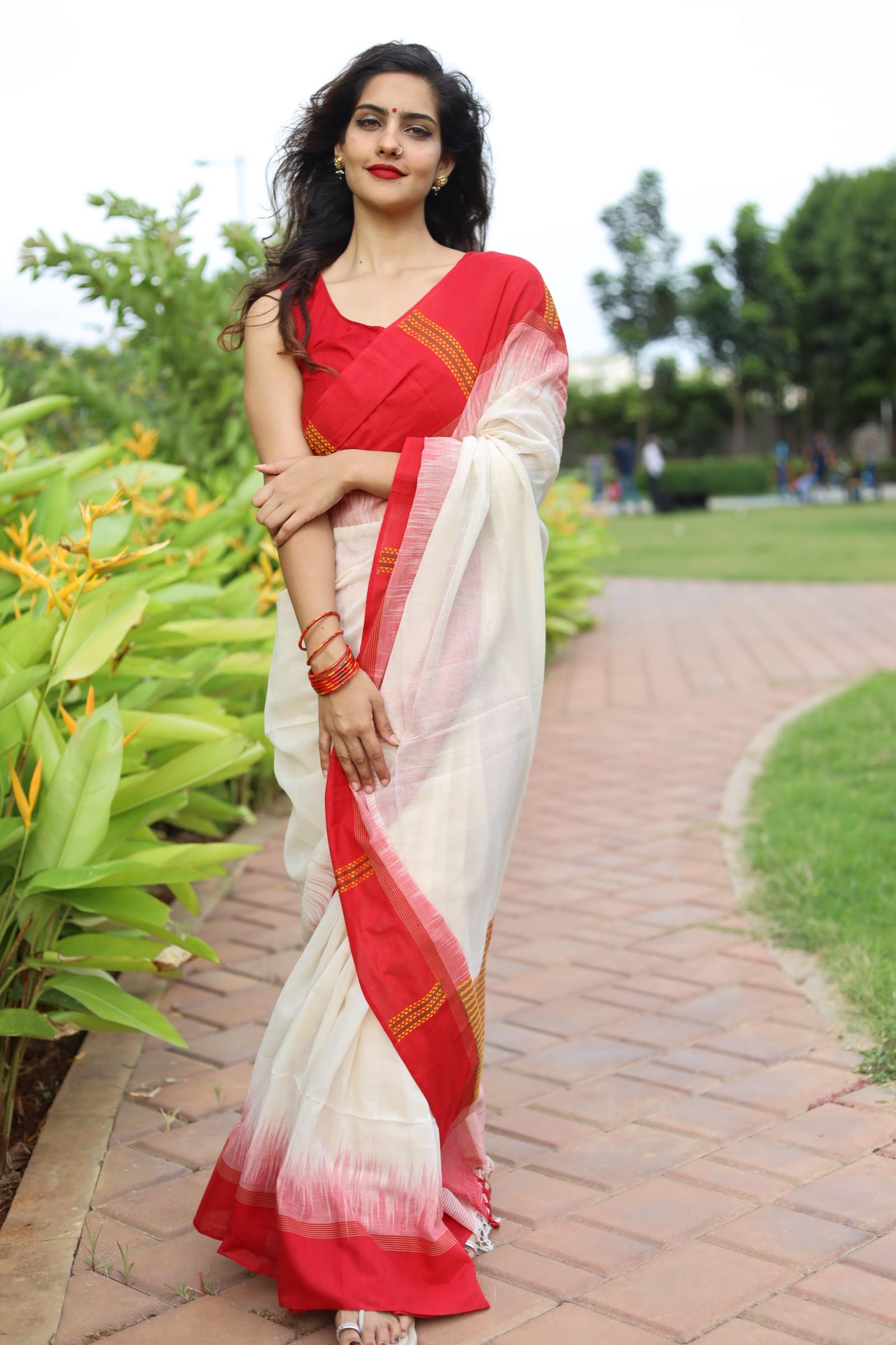 Khadi cotton laal paar saree