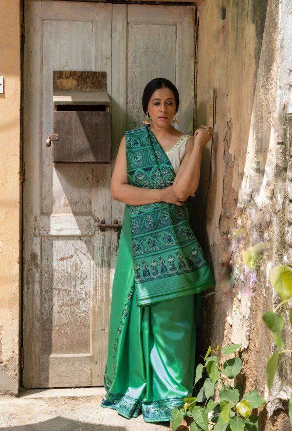Baluchari silk in emerald green