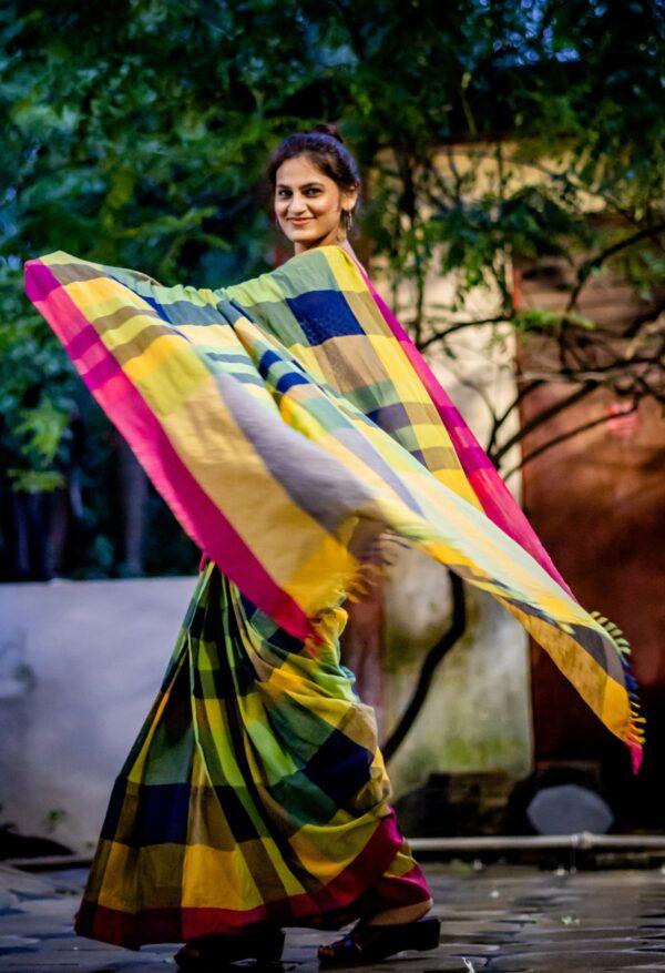 Khadi cotton check saree