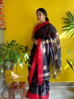 Khadi Cotton saree with flamingo motifs