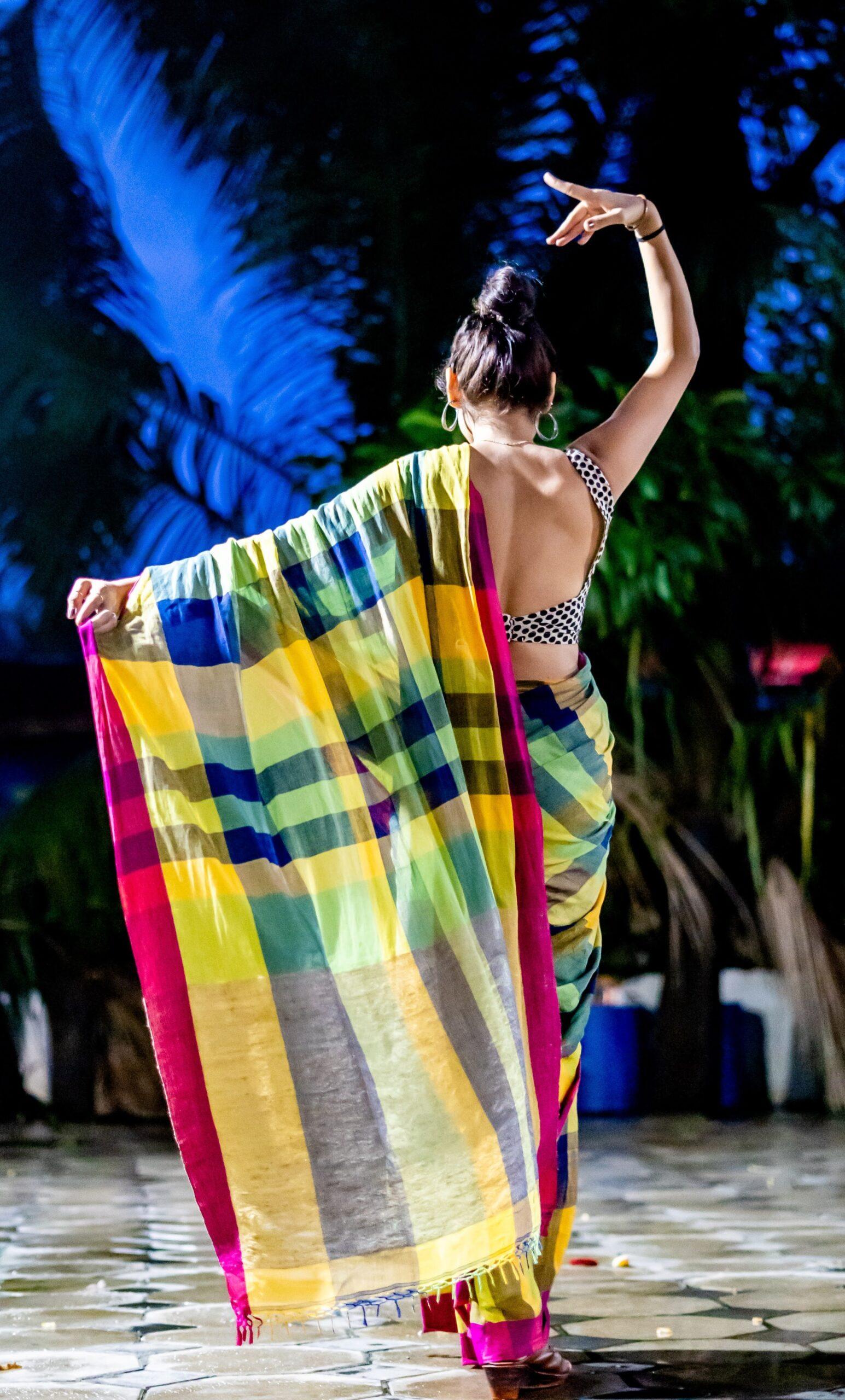 Khadi cotton sari with checks